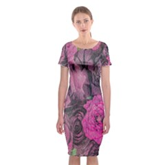 Oil Painting Flowers Background Classic Short Sleeve Midi Dress