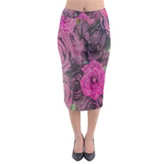 Oil Painting Flowers Background Midi Pencil Skirt