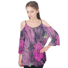 Oil Painting Flowers Background Flutter Tees