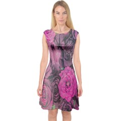 Oil Painting Flowers Background Capsleeve Midi Dress