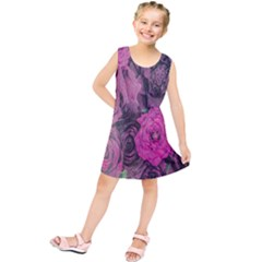 Oil Painting Flowers Background Kids  Tunic Dress