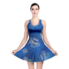 Seamless Bee Tile Cartoon Tilable Design Reversible Skater Dress