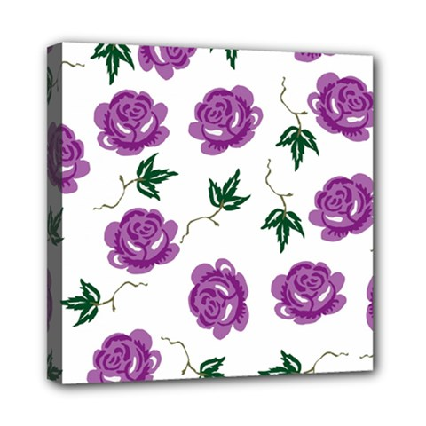 Purple Roses Pattern Wallpaper Background Seamless Design Illustration Mini Canvas 8  X 8