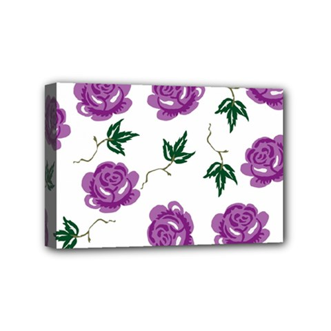 Purple Roses Pattern Wallpaper Background Seamless Design Illustration Mini Canvas 6  x 4
