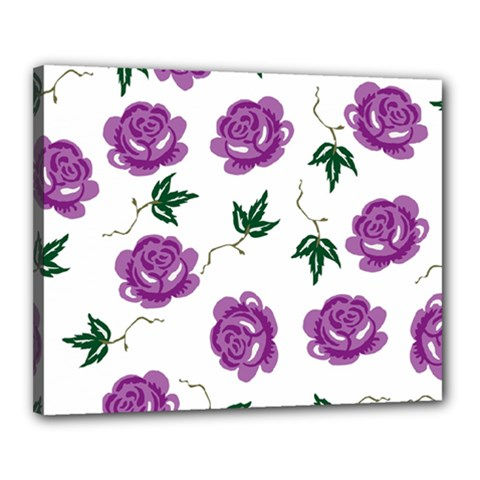 Purple Roses Pattern Wallpaper Background Seamless Design Illustration Canvas 20  x 16