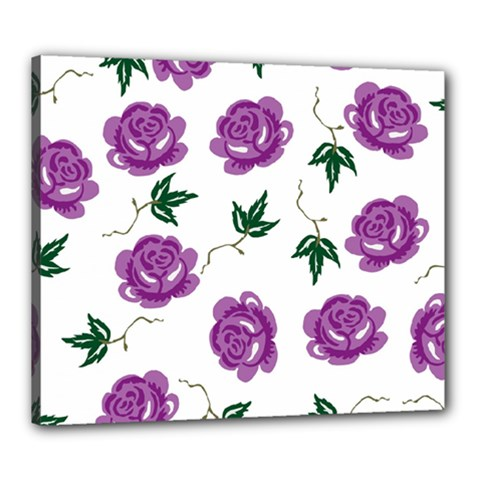 Purple Roses Pattern Wallpaper Background Seamless Design Illustration Canvas 24  x 20