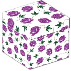Purple Roses Pattern Wallpaper Background Seamless Design Illustration Storage Stool 12