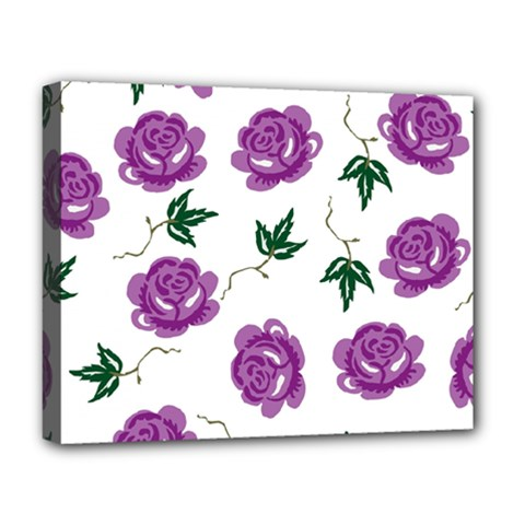 Purple Roses Pattern Wallpaper Background Seamless Design Illustration Deluxe Canvas 20  X 16