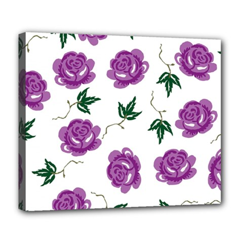 Purple Roses Pattern Wallpaper Background Seamless Design Illustration Deluxe Canvas 24  x 20