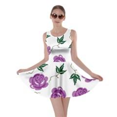 Purple Roses Pattern Wallpaper Background Seamless Design Illustration Skater Dress