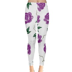 Purple Roses Pattern Wallpaper Background Seamless Design Illustration Leggings