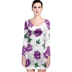 Purple Roses Pattern Wallpaper Background Seamless Design Illustration Long Sleeve Bodycon Dress