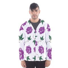 Purple Roses Pattern Wallpaper Background Seamless Design Illustration Hooded Wind Breaker (men)