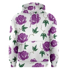 Purple Roses Pattern Wallpaper Background Seamless Design Illustration Men s Pullover Hoodie
