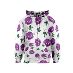 Purple Roses Pattern Wallpaper Background Seamless Design Illustration Kids  Zipper Hoodie