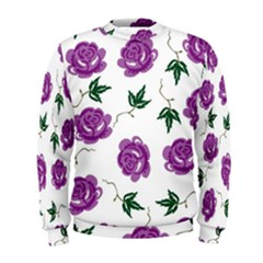 Purple Roses Pattern Wallpaper Background Seamless Design Illustration Men s Sweatshirt