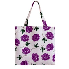 Purple Roses Pattern Wallpaper Background Seamless Design Illustration Zipper Grocery Tote Bag