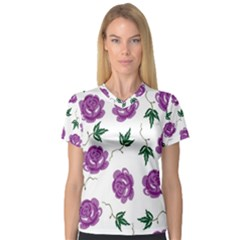Purple Roses Pattern Wallpaper Background Seamless Design Illustration Women s V-Neck Sport Mesh Tee