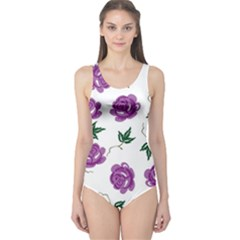 Purple Roses Pattern Wallpaper Background Seamless Design Illustration One Piece Swimsuit