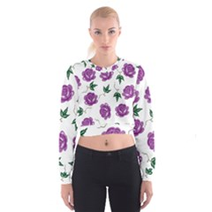 Purple Roses Pattern Wallpaper Background Seamless Design Illustration Cropped Sweatshirt