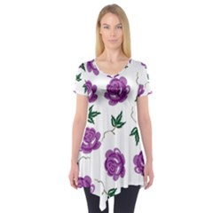 Purple Roses Pattern Wallpaper Background Seamless Design Illustration Short Sleeve Tunic