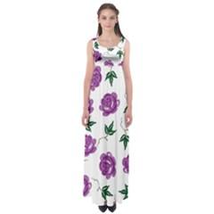 Purple Roses Pattern Wallpaper Background Seamless Design Illustration Empire Waist Maxi Dress
