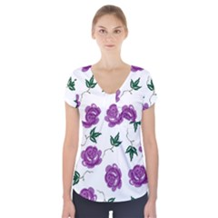 Purple Roses Pattern Wallpaper Background Seamless Design Illustration Short Sleeve Front Detail Top