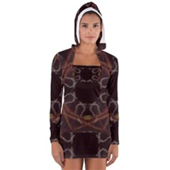 Digitally Created Seamless Pattern Women s Long Sleeve Hooded T-shirt