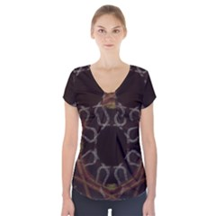 Digitally Created Seamless Pattern Short Sleeve Front Detail Top