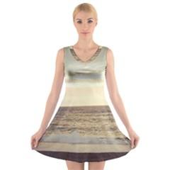 Sunlight on the Ocean V-Neck Sleeveless Skater Dress