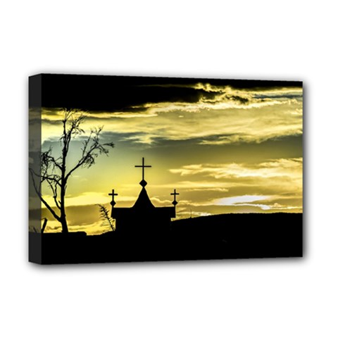 Graves At Side Of Road In Santa Cruz, Argentina Deluxe Canvas 18  x 12