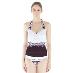 Bubbles In Red Wine Halter Swimsuit