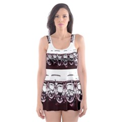 Bubbles In Red Wine Skater Dress Swimsuit