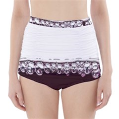 Bubbles In Red Wine High-Waisted Bikini Bottoms