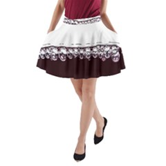Bubbles In Red Wine A Line Pocket Skirt
