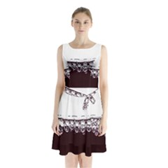 Bubbles In Red Wine Sleeveless Chiffon Waist Tie Dress