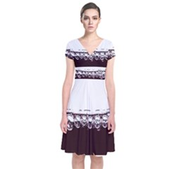 Bubbles In Red Wine Short Sleeve Front Wrap Dress