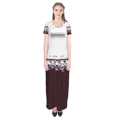 Bubbles In Red Wine Short Sleeve Maxi Dress
