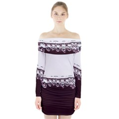 Bubbles In Red Wine Long Sleeve Off Shoulder Dress