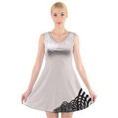 Circles Background V Neck Sleeveless Skater Dress