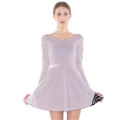 Circles Background Long Sleeve Velvet Skater Dress