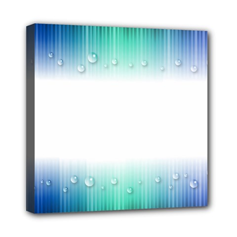 Blue Stripe With Water Droplets Mini Canvas 8  x 8