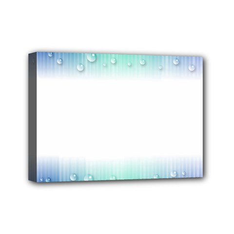 Blue Stripe With Water Droplets Mini Canvas 7  x 5