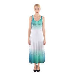 Blue Stripe With Water Droplets Sleeveless Maxi Dress