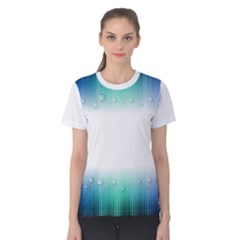 Blue Stripe With Water Droplets Women s Cotton Tee