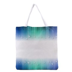 Blue Stripe With Water Droplets Grocery Tote Bag