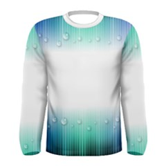 Blue Stripe With Water Droplets Men s Long Sleeve Tee