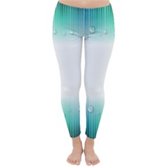 Blue Stripe With Water Droplets Classic Winter Leggings