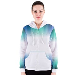 Blue Stripe With Water Droplets Women s Zipper Hoodie