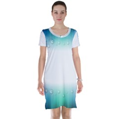 Blue Stripe With Water Droplets Short Sleeve Nightdress